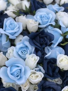 Navy, Ivory, Light Blue Rose Heads | Wedding Centerpieces for Tables | Faux Flowers