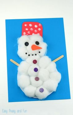 Cotton Ball Snowman Craft - a perfect winter craft for toddlers, preschoolers and kids in kindergarten
