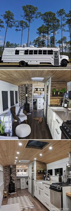 There are a lot of people around the world dreaming about tiny house and go for their dream! You will find 30 awesome examples of perfect School Bus and van conversions into tiny House - for couples, for family of for one person and so one. Bus Living, Tiny House Living, School Bus Tiny House, School Buses, Bus Remodel, Converted School Bus, Kombi Home, School Bus Conversion, Bus Life