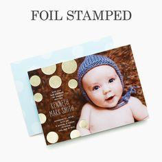 Brilliant Beginning - Foil Stamped Boy Birth Announcement - Baumbirdy - Spa Blue #baby