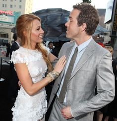 """Blake Lively and Ryan Reynolds share a laugh at the Los Angeles premiere of """"Green Lantern"""" on June 15, 2011."""
