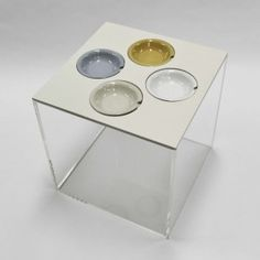 CAJA El Tapar Side table! Lid Option 2 WIth 4 mini saucers in all available colours! Perfect for entertaining!