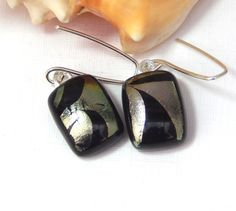Black Dangle Earrings  Abstract Dichroic Glass by TremoughGlass