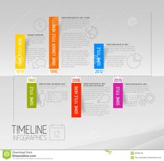 Horizontal Infographic timeline report template with rounded labels