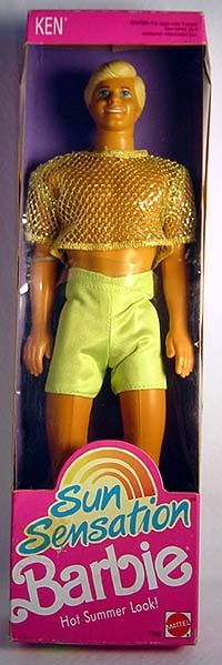 pinner said;Sun Sensation Ken ~ I was cleaning out the doll cabinet this weekend and found this guy hiding in the back. I didn't know who he was ~ until now!