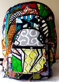 Backpack, African Fabric backpack, handmade, padded backpack, recycled fabric by FreedomCountryGH on Etsy