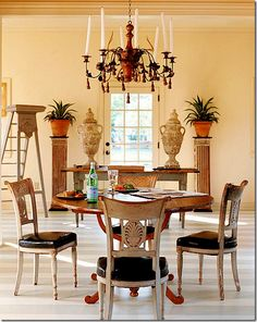 "Suzanne Rheinstein designed this space. Here, the ladder is the off center ""surprise. Dining Area, Dining Chairs, Dining Table, Dining Rooms, Living Room Inspiration, Interior Inspiration, Interior Ideas, Dining Chair Makeover, French Chairs"