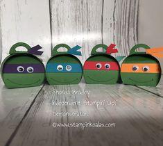 Stampin Up curvy keepsake, teenage mutant ninja turtles Ninja Turtle Party, Turtle Birthday, Ninja Turtles, Halloween Candy Crafts, Art For Kids, Crafts For Kids, Handmade Crafts, Diy Crafts, Box Maker