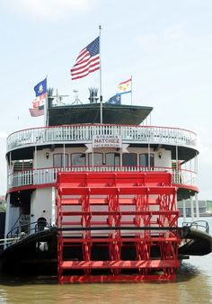 **listen here:  the steamboat natchez docks behind the old jax brewery (now a shopping mall)    --listen for the steam calliope playing at 11am and 2pm daily > http://www.youtube.com/watch?v=XEDNXNEmLj4    > http://www.steamboatnatchez.com