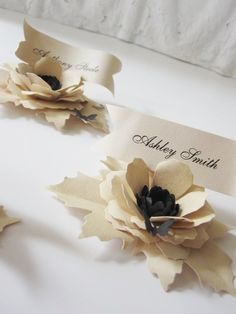 5 Handcrafted Paper Flower Place Cards with by carrieklein on Etsy, $30.00