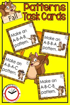 ACORN PATTERNS is a math patterning center with a fall theme. Make these patterning activities open-ended by allowing your primary students to color patterns of their choice. Or, prescribe the patterns by using the task cards. The challenges provided by the task cards allow for easy differentiation. These patterning activities are designed for pre-kindergarten, kindergarten, first, and second grade students. #patterningactivities #mathpatterns #mathcenter #primarymath #taskcards Math Patterns, Math Task Cards, School Tool, Early Math, Second Grade Math, Kindergarten Activities, Autumn Theme, Fun Math, Math Centers