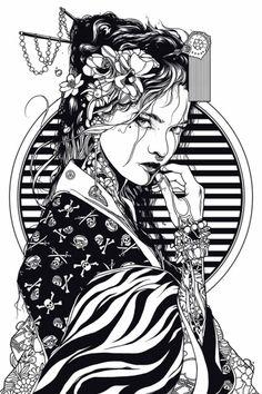 Geisha — 2017 on Behance Geisha Kunst, Geisha Art, Geisha Drawing, Geisha Tattoo Design, Geisha Tattoos, Japanese Tattoo Art, Japanese Tattoo Designs, Art And Illustration, Illustrations