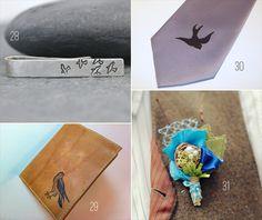 50 best bird wedding ideas: #28-31 tie back, bird wallet, sparrow necktie, bird wedding boutonniere