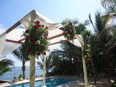 CBG138 Riviera maya wedding roses arch gazebo huppa/ bodas riviera maya gazebo rosas rojas y blancas