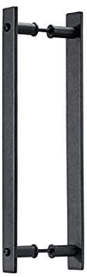 Toprema Black Steel Sliding Barn Door Handle Pull Rustic Two-Sided Flush Flat Bar-to-Bar Handles Wood Door Hardware: Amazon.co.uk: DIY & Tools
