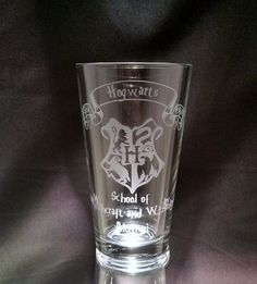 Harry Potter Inspired Hogwarts School of Witchcraft and Wizardry Alumni with 4 house banner Etched Glassware Harry Potter Pint Glass
