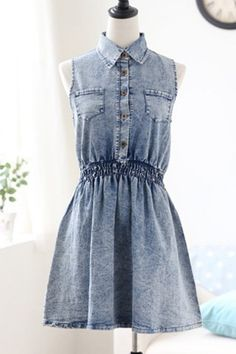 Sleeveless Denim Shirt Dress OASAP.com