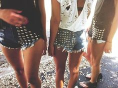 High waist shorts & studs. Perfect.
