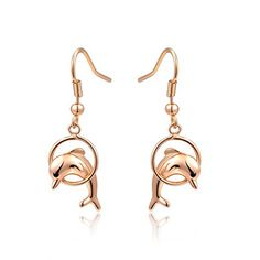 Duo La Cute Dolphin 18k Rose Gold Plated Lady Elegant Dangle Earrings Find Out Additional