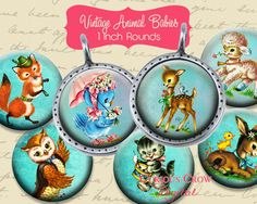 Vintage Animal Babies 1 inch Circle Rounds by CuriousCrowDigital, $3.50
