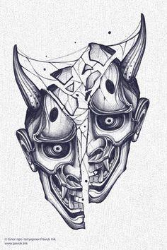 Japan Tattoo Design, Japanese Tattoo Designs, Tattoo Design Drawings, Tattoo Sleeve Designs, Tattoo Sketches, Tattoo Designs Men, Sleeve Tattoos, Hannya Maske Tattoo, Oni Mask Tattoo