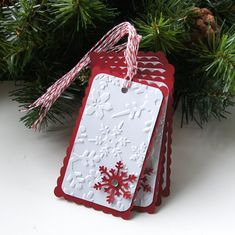 Embossed Snowflakes Christmas Tags or Package Labels (Qty. 6) by scrapbits on Etsy