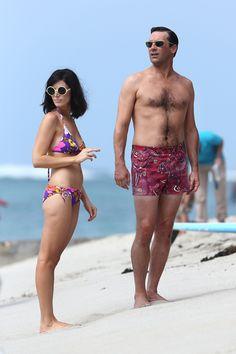 Jon Hamm and Megan Pare filming mad men in Hawaii.