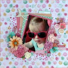 'Sweet' layout by Linda Thompson DT Kaisercraft using Cherry Blossom Collection. Scrapbook Blog, Scrapbooking Layouts, Linda Thompson, Love Canvas, Love Tag, Kids Pages, Clear Stamps, Cherry Blossom, Card Making