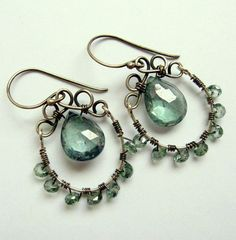green quartz briolettes with oxidized sterling silver