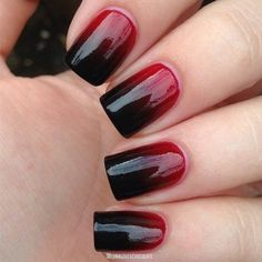Nageldesign Ombre - Nailart Rot Schwarz