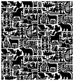 Black and white textile design by Finnish artist Sanna Annukka