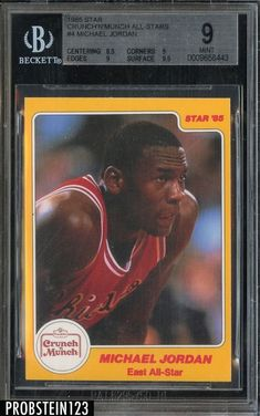 faaf864a3 Sports cards · 1985 Star Crunch  N  Munch All Stars  4 Michael Jordan RC  Rookie HOF