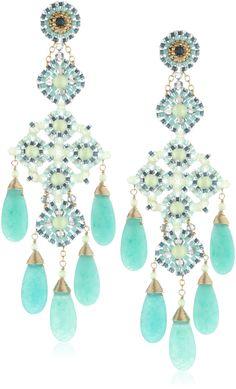 Miguel Ases Prehnite and Green Quartz 5-Stone Chandelier Drop Earrings