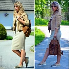 Leather Backpack, Leather Jacket, Ray Ban Sunglasses, Shirt Dress, T Shirt, Slip On, Beige, My Style, Jackets