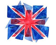 modern union jack 'stained glass' watercolour effect