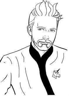 Twitter / DarthFos: Something about the @wilw coloring template looked off. It lacked bed-head, Epic Robe and a Unicorn. Fixed.