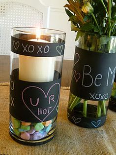 Chalk Board Vase cute idea for different holiday's