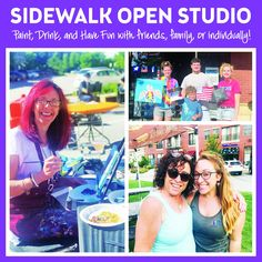 You're invited to Paint, Drink & Have Fun outside with us!! *Weather Permitting* We are now painting on our sidewalk right outside the studio. This is ran as Freestyle/Open Studio style. Open Studio's are designed for people looking for some unstructured creative fun to do individually or with friends. #PaintandSip #PinotsPaletteGlenview #Glenviewil #ChicagoNorthShore #TheGlen #GirlsNight #Acrylic #CreateHomeFun #Craft #HomeDecor #openstudio