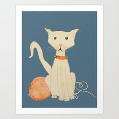 yo tambien hice un gato  ( I  made a cat , too) Art Print by Melina Martín  - $17.00