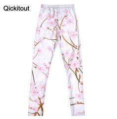 White Cherry Blossom Print Leggings