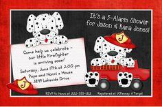 Firefighter baby shower Ideas | Lil' Firefighter Puppy Shower Invitation - Dalmatian Baby Fire Truck