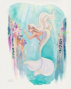 Water color mermaid. Love the white hair matching the tail.