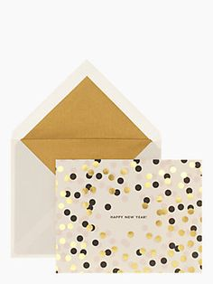Confetti New Year Holiday Card Set, Gold Dots