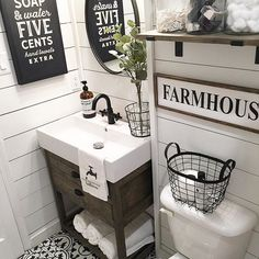 Happy FriYay Friends! I\'m so ready for the weekend, no plans and my hubby is off! Maybe another project   I get asked a lot about my vanity and where we bought it from, my husband built it for me and the sink is from @ikeausa  Make it a great one peeps!  #friyaydecorday #fridayflipperupper #fabulousfarmhousefriday #floormefriday #myrenovatedreality #diyonadime #bathroom #bathroominspo #farmhousebathroom #reno #bathroomreno #bathroomrenovation #diy #fixerupper #shiplap #farmhousestyle #farmh...