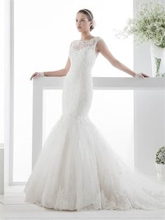 Gorgeous Mermaid Keyhole Back Chapel Train Lace Tulle Wedding Dress WD2246