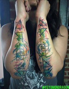 4 elements and the golden ratio Tattoo done my way.