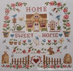 Home sweet home Embroidery Sampler, Embroidery Stitches, Sweet Home, Stitch 2, Cross Stitch Flowers, Plastic Canvas Patterns, Le Point, Cross Stitching, Flower Patterns