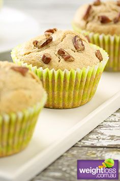 Pecan & Honey Muffins. #HealthyRecipes #DietRecipes #WeightLossRecipes weightloss.com.au