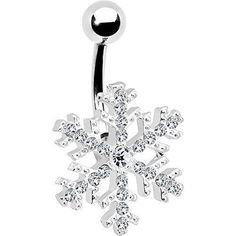 Piercing pour le Nombril - Bijou cristallin et flocon de neige