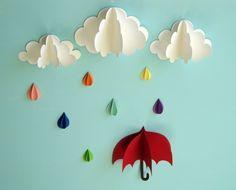 Red Umbrella, Raindrops and Clouds Wall Art/3D Paper Wall Decor/Wall Decals. $29.00, via Etsy.